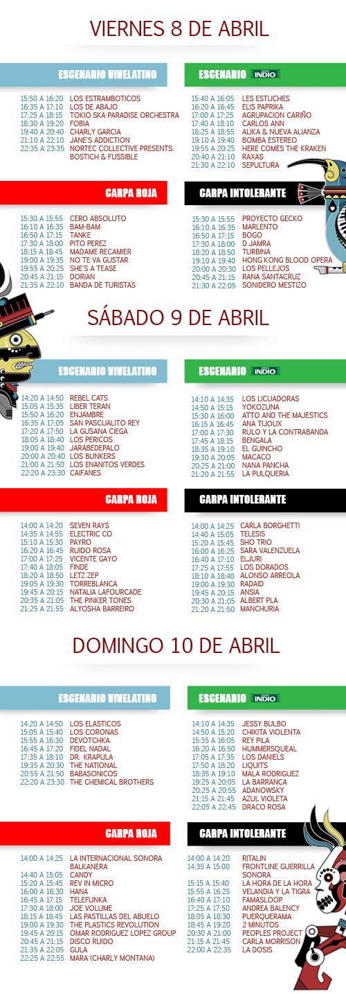 Cartel Horarios Vive Latino Horarios Por Dia Vive Latino